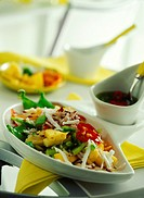 Rice salad with pineapple, vegetables and coconut