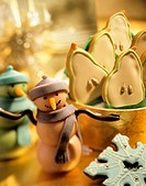 Marzipan Snowmen with Pear and Snowflake Cookies