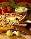Tomato, cheese, mushroom and olive pizza
