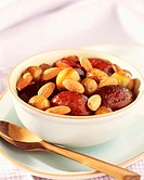 Mirabelle and quetsch plums with orange blossom and grilled almonds