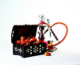 Arab traditions - box of dried dates, tea and shisha