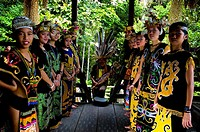 East Malaysians welcoming tourists, Sarawak, Malaysia