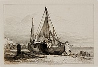 Etching after his own drawing by Edward William Cooke (1811-1880), from his 'Fifty plates of shipping and craft' published in London in 1829.