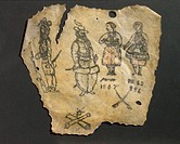 Human skin, tattooed with two figures of soldiers, male and female in peasant costume, crossed cannon and crossed swords, probably French, dated 1867.
