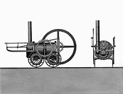 Side elevation drawing showing the locomotive, which was designed by the Cornish engineer Richard Trevithick (1771-1833) and built in 1803 and was the...