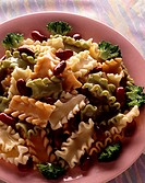 Colored Trenette pasta with pistou and red beans