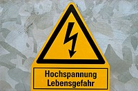 High tension danger sign