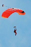 Parachuting during airshow. Bagotville military base, Quebec, Canada