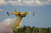 Canadair waterbomber during airshow. Bagotville military base, Quebec, Canada