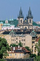 Our Lady of Tyn church. Old town overview. Prague. Czech Republic.