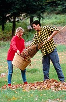 Raking leaves together