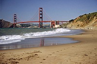 Golden Gate Bridge viewed from the beach adjacent to the Presidio, San Francisco. California, USA