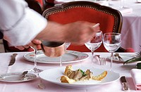 europe, france, loire valley, amboise,  hotel restaurant , le choiseul-, waiter