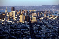 usa, california, san francisco, the financial district and market street