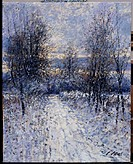 Winter Lane-Normandie, France 1998 Charles Neal (b.1951/British) Oil on canvas