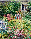 Border Composition with Garden Chairs Lock Farm, Oxfordshire (Afternoon, July) Charles Neal (b.1951/British) Oil on canvas