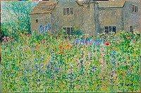 View to the Farm House from the Flower Garden, Lock Farm, Buscot, Oxfordshire 2003 Charles Neal (b.1951 British) Oil on canvas