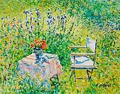 The Flower Garden, Lock Farm, Buscot, Oxfordshire 2003 Charles Neal (b.1951 British) Oil on panel