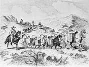 Packhorses carrying goods, historical artwork. Until the development of macademed roads in the early 1800s, horses were the only way to move goods thr...