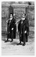 Town hall mace bearers, Spain. Engraving from 'Le Tour du Monde'