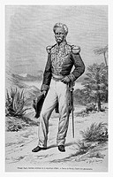 Nissage Saget, 8th President of the Republic of Haiti. Engraving from 'Le Tour du Monde'