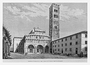 Lucques Cathedral, Tuscany, Italy. Engraving from 'Le Tour du Monde'