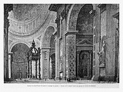 St. Peter's Basilica interior, Rome, Italy. Engraving from 'Le Tour du Monde'