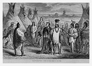 Cree Indians. Engraving from 'Le Tour du Monde'