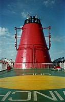 Red chimney on a Gotland ferry