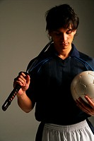 Soccer player with Japanese sword