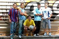Group of teenage soccer friends (thumbnail)
