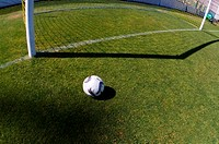 Soccer ball in front of goal