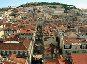 San Jorge castle and Baixa-Chiado neighbourhood. Lisbon. Portugal. (Sept. 2003)