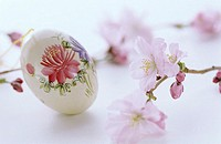 Floral painting on egg, Easter traditon, close up