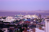 view on V&amp;A Waterfront, Table Bay Hotel from High Level, Western Cape, Capetown, South Africa