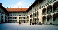Wawel Royal Castle of Krakow, Poland, panorama. Courtyard. Wawel Royal Castle together with Cathedral and fortifications is located on Wawel Hill by V...