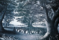 c.1840 Art/Illustration, Hawaii, Kauai, William Alexander preaching beneath a kukui tree