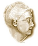 Portrait illustration of an elderly woman, in profile.