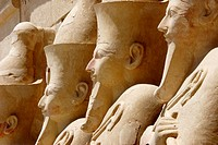 Statues at the 3rd terrace, Temple of Hatshepsut. Deir el Bahri. Thebes, Luxor. Egypt