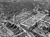 Aerial view of the Crystal Palace after its destruction by fire in 1936. The building was originally constructed for the Great Exhibition of 1851, and...