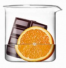 Beaker with water, chocolate and orange
