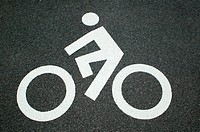 Cycle path road marking