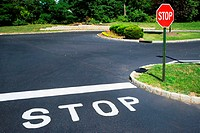 Stop signs in suburban street