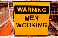 Warning men working