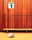 Fencing mask in sport court