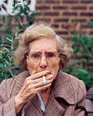 Elderly woman smoking