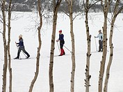 Skiers trekking through the snow