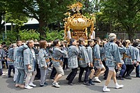 Yearly matsuri (festival) of Kanda shrine featuring a procession of many ´Mikoshi´  (mobile shrines).Tokyo. Japan