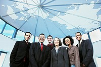 Low angle group portrait of business people