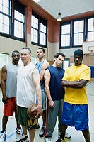 Portrait of male basketball team